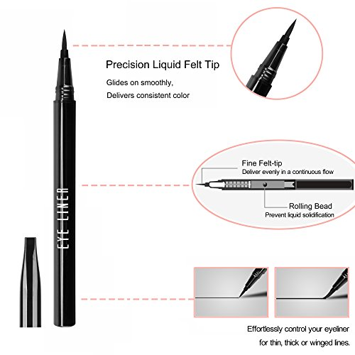 Liquid Eye Liner Pen Lasting Eyeliner Pencil Waterproof Smudge-proof Fast Dry Eye Makeup Tool for Wing or Cat Eye, Black, 0.028 fl.oz