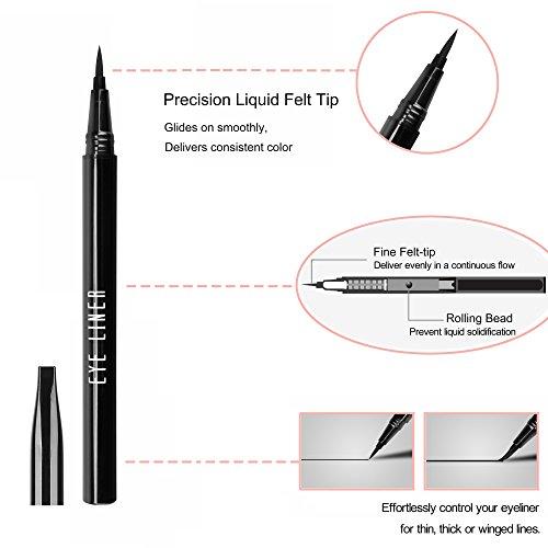 Liquid Eye Liner Pen Lasting Eyeliner Pencil Waterproof Smudge-proof Fast Dry Eye Makeup Tool for Wing or Cat Eye, Black, 0.028 fl.oz