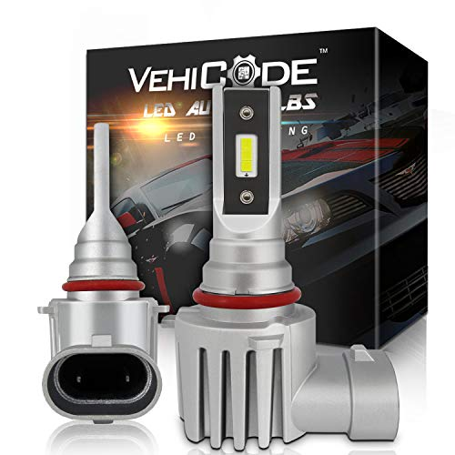 VehiCode 9006 HB4 LED Headlight Bulbs No Wire Conversion Kit (Mini LED Fog Lights/DRL) - High Power 6-CSP 2121 LED - 5500lms 6000K White High/Low Beam Plug-N-Play Fanless Replacement (2 Pack)