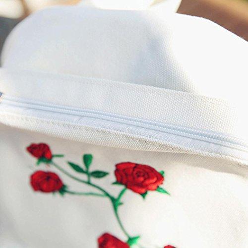 e350572e43 Bonjouree Sacs à Dos Loisir Femme Broderie à Fleurs en Toile (White)  grosses soldes