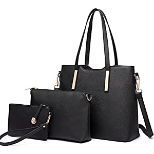 Miss Lulu Purses for Women Tote Handbag PU Leather Top-handle Shoulder Bag Set