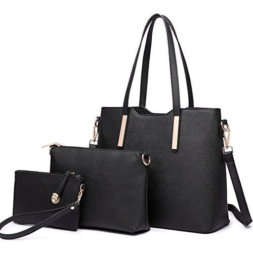 Womens 3 Piece Tote Bag Leather Handbag Purse Bags Set (Black) - 3