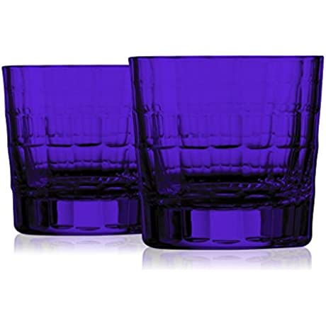 Zwiesel 1872 Charles Schumann Hommage Collection Carat Handmade Set Of 2 Glass Bottom Color Purple Additional Vibrant Colors Available By TableTop King