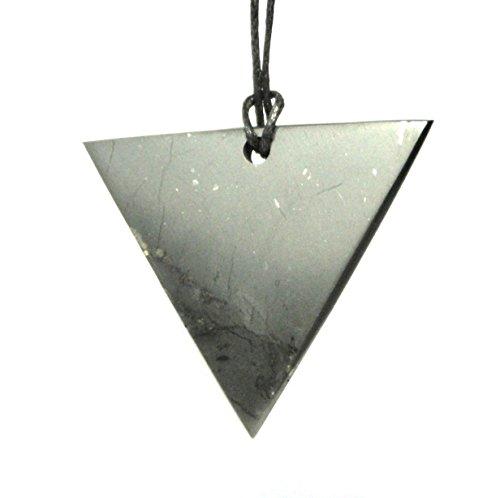 Shungite stone pendant triangle Man Karelian Shungite, EMF Protection, Energy Pendant, Root Chakra Healing Amulet