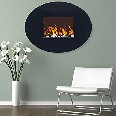 "Home Northwest Black Oval Glass Electric Fireplace with Wall Mount, 42"" Curved, Midnight"