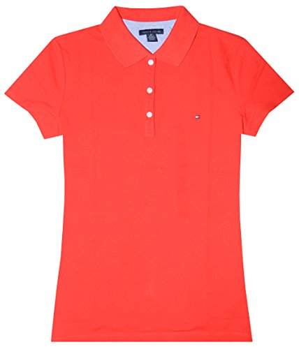 Tommy Hilfiger Women's Classic Fit Logo Polo T-Shirt (XL, Red)