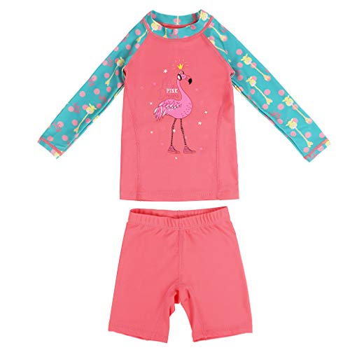 a09e80c9ea Gogokids Girls Two-Piece Swimsuit Swimwear - Kids Long Sleeves Wetsuits  Diving Suits Pink