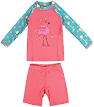 Gogokids Girls Two-Piece Swimsuit Swimwear - Kids Long Sleeves Wetsuits Diving Suits