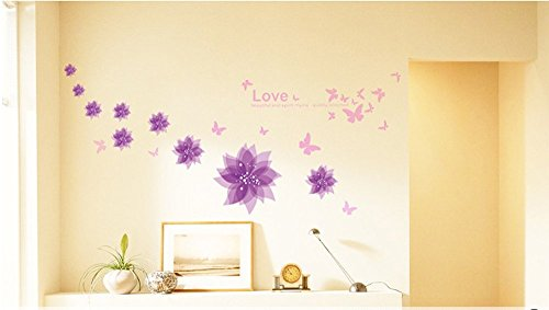 Amaonm® Nursery Flowers Butterfly Wall Decals Quotes Wall Stickers Murals Peel Stick (Butterfly Nursery Room)