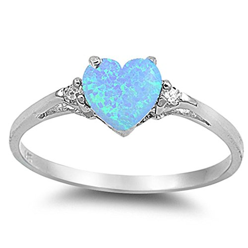 Sterling Silver Lab Created Light Blue Opal Heart Promise Ring Sizes 7 (Diamond Created Opal Heart Ring)