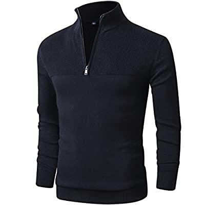 - 41YLgHCD0nL - LTIFONE Mens Slim Fit Zip Up Mock Neck Polo Sweater Casual Long Sleeve Sweater and Pullover Sweaters with Ribbing Edge