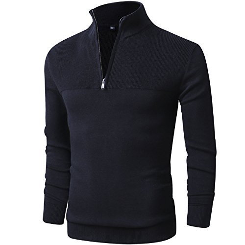 LTIFONE Mens Slim Fit Zip up Mock Neck Polo Sweater Casual Long Sleeve Sweater and Pullover Sweaters with Ribbing Edge(Black,L by LTIFONE