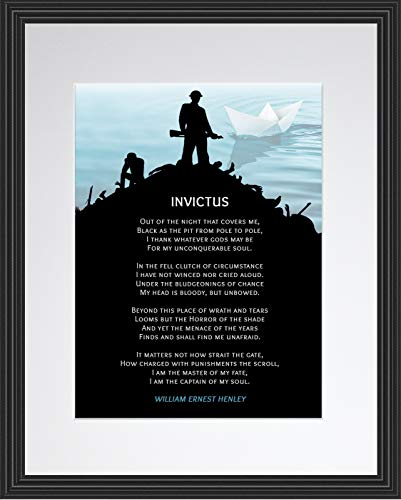 Invictus Poem by William Ernest Henley | Inspirational Motivational Poster, Framed Wall Art, Print, Photo or Picture - Poetry Collection (11x14 Framed)