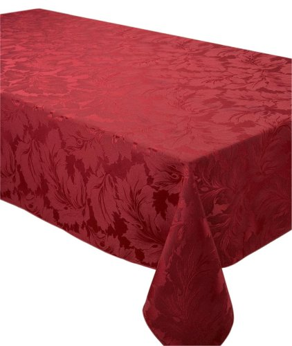 Damask Oblong Tablecloth Plum, 70 X 108 Inches (178 X 274cms)