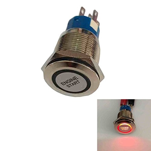 Mintice/™ 12V Car Vehicle Red LED Momentary Speaker Push Button Metal Switch 19mm