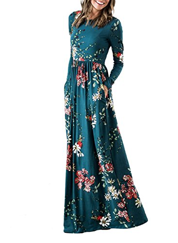 l Print Long Sleeve Pockets Empire Waist Pleated Long Maxi Dress Teal Large ()