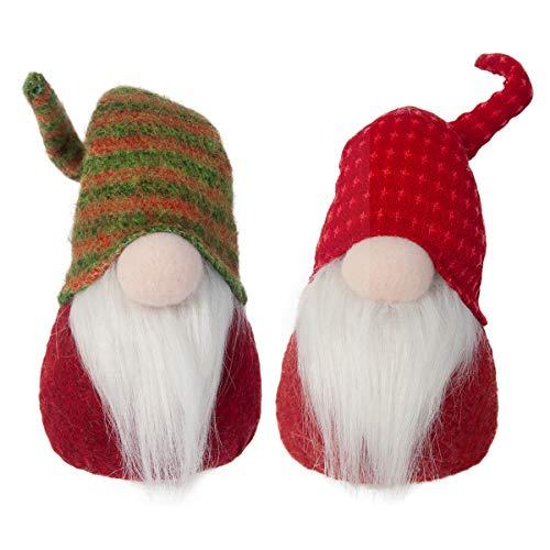 GMOEGEFT Handmade Swedish Gnome Plush, Scandinavian Tomte Santa, Valentines Gnome Gifts Elf Home Decoration, 12 Inches, Set of 2 (D)