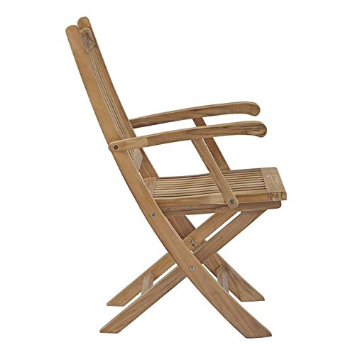 Modway EEI-2703-NAT Marina Premium Grade A Teak Wood Outdoor Patio Folding Armchair, Natural