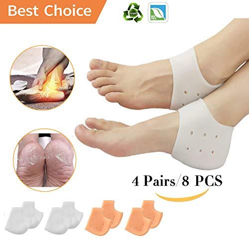 (8PCS) Silicone Heel Protectors,Heel Cups,Gel Heel Cushion,Plantar Fasciitis Inserts Pads& Heel Guards Great fot Heel Pain, Heal Dry Cracked Heels, Achilles Tendinitis.Heel Sore.