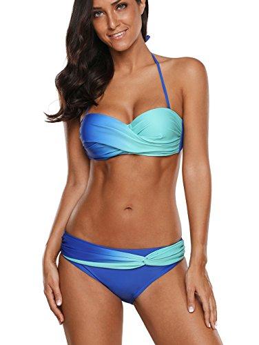 Color Block Bandeau Swimsuit - Azokoe 2018 Womens Casual Ladies Sweatheart Neck Color Block Print Bandeau Push up Bikini 2 Piece Under 20 Swimsuits Bathing Suits with Triangle Briefs Blue Green X-Large