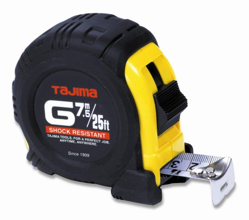 (TAJIMA Tape Measure - 25 ft / 7.5 m x 1 inch G-Series Measuring Tape with Dual Metric/Standard Scale & Acrylic Coated Blade - G-25/7.5MBW)