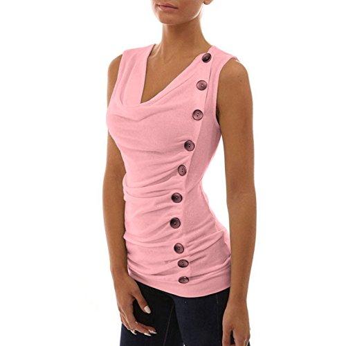 Bluse Estivo Con T Maniche Forti Top Donna Colore Folds Oufour Camicie Pulsanti Taglie Sweatshirt Casual Maglietta V Di Sottile Senza shirt Collo Rosa Canotte Solido 5Ta7x