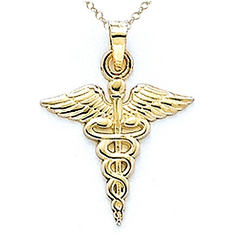 Finejewelers 14k Yellow Gold Caduceus Pendant Necklace Chain Included