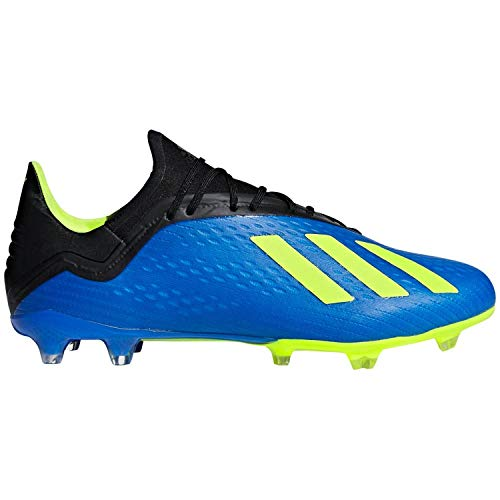 adidas Men's X 18.2 Firm Ground Soccer Shoe, Football Blue/Solar Yellow/Black, 8.5 M US