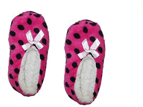 Vrouwen Fuzzy Gezellige Slippers Roze Stippen
