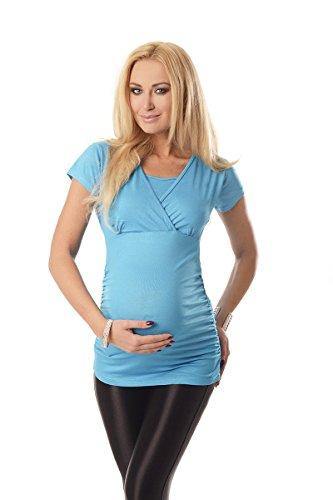 Purpless Maternity 2in1 Maternidad y el Embarazo la Parte Superior de Enfermería Manga Corta 7006 Sky Blue