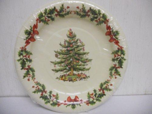Spode Garland Tree Coated Paper Disposable Luncheon / Dessert Size Plates, Set of - Plate Dessert Garland