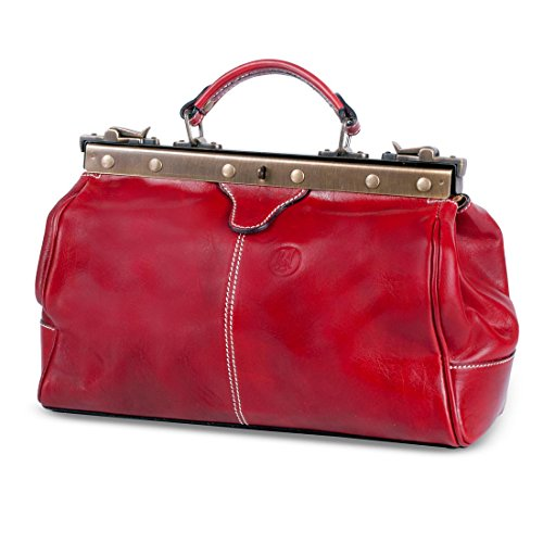 Michelangelo Handmade Leather Genuine Italy - Sac médical pour femme 33x20 H23 cm (noir) rouge