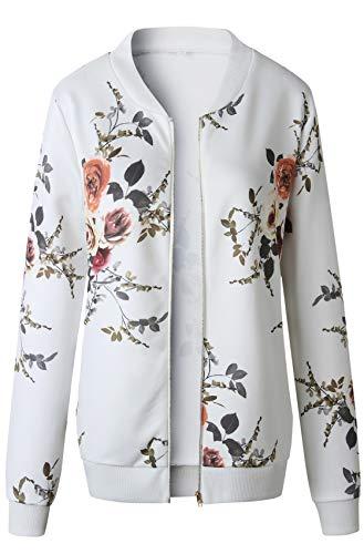 Manches Jacket Blanc Aviateur Aviator Fleurs Haut Devant Blouson Longues Top Florale Bomber Veste Zippé À Flight VpSzMqU