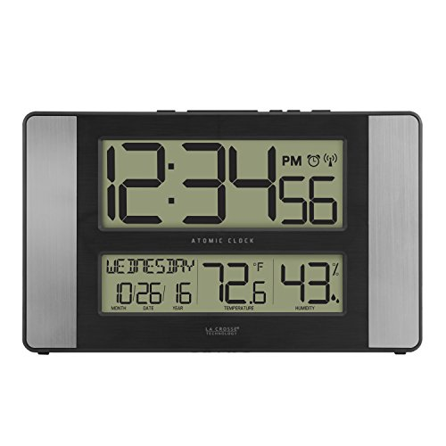 La Crosse Technology 513-1417H-AL-INT Atomic Clock with Temperature & Humidity (Lacrosse Technology Wall Clock)