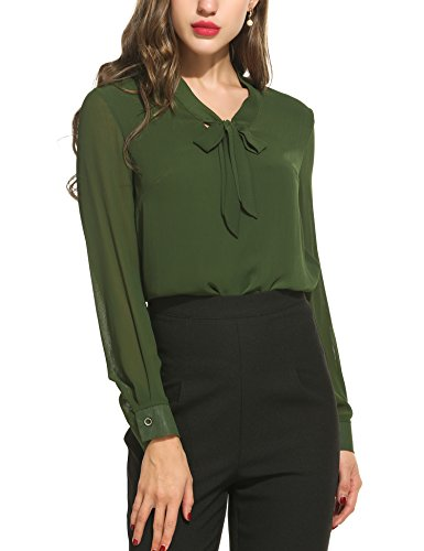 ACEVOG Elegant Blouse Womens Pussycat Bow Tie Neck Long Sleeve Chiffon Work Blouse Shirts for Office,Army Green,Medium (Army Office)