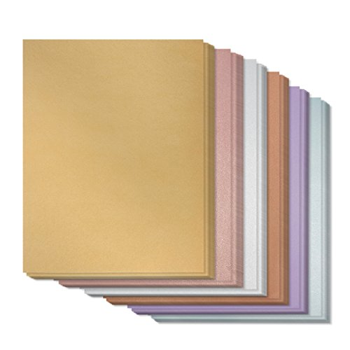 96 Count Metallic Color Combo Stationery Paper Invitation Paper for Writing, Scrapbooking, Letters, Certificates, Crafts - Includes Gold, Silver, Rose, Copper, Amethyst, Aquamarine, 8.5 x 11 Inches
