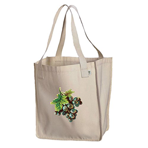 Market Tote Organic Cotton Canvas Black Grapes Vintage Look By Style In ()