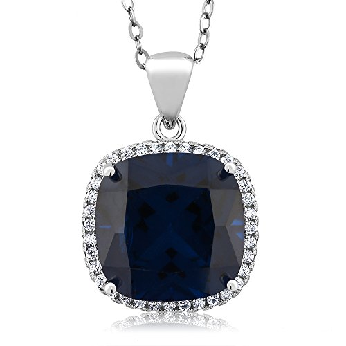 925 Sterling Silver Blue Simulated Sapphire Women's Pendant Necklace with 18 Inch Chain (9.00 Cttw, 13X13MM Cushion (Boucheron Costume Jewellery)