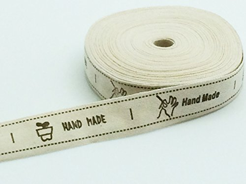 PEPPERLONELY Brand 10 Yards HAND MADE Label Cotton Ribbon 5/8 Inch (15mm)