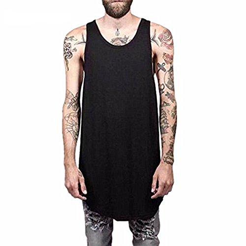 LIWEIKE Men Hip hop T Shirts Vest Loose Zipper Vest Tank Tops Street Wear Tees (XX-Large, Black 02) by LIWEIKE
