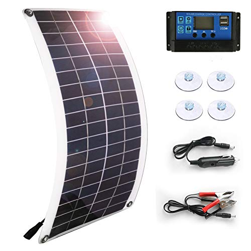 Solar Panel 25W 18V 12V Bendable Flexible,Solar Car Battery Charger Maintainer Portable Trickle Charger with Cigarette Lighter Plug,Charging Clip Line for Motorcycle RV Boat with 10A Charge Controller (Charger Panel Solar Battery 12v)