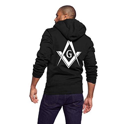Men Casual Lightweight Full Zip Fleece Hoodie Jackets Outwear Coat with Kangaroo Pockets - Freemason Logo (Faith Hoodie Zip)
