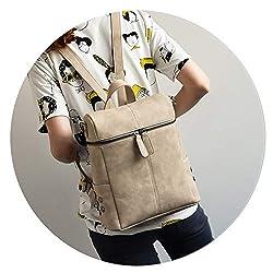 Simple Style Backpack Women Pu Leather Backpacks For Teenage Girls School Bags Fashion Vintage Solid Black Shoulder Bag Khaki