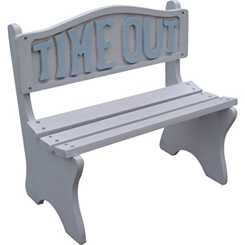Time Out Kids White Frame With Blue Lettering Bench, SL180-WB