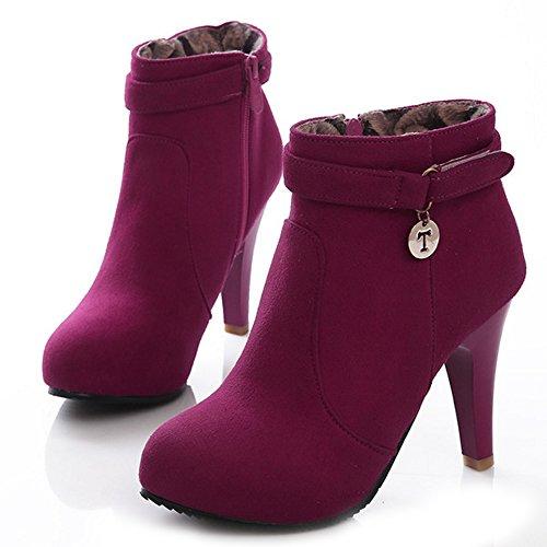 RAZAMAZA Women Fashion Side Zipper High Heel Shoes Ankle Booties 1315 Rose Red Q87Nuz
