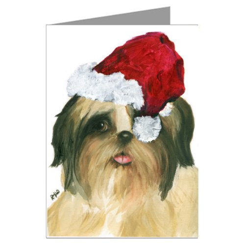 Shih_tzu Dog Shihtzu with a Santa Claus Hat Greeting Card Shitzu