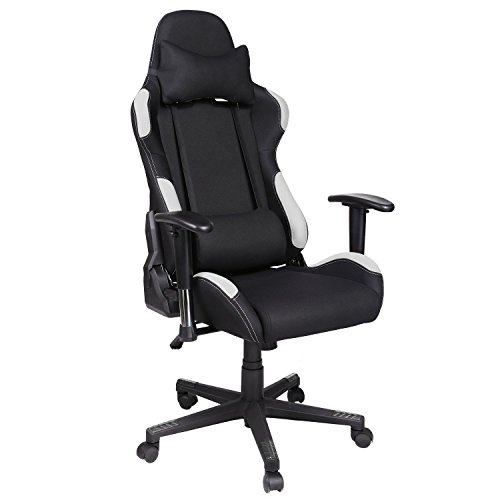 Cheap Homevol Racing Gaming Chair, High Back Breathable Fabric Durable Metal Frame Ergonomic Office Chair with Height Adjustable Armrests (Black White)