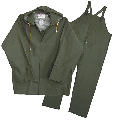 3 Piece Lined Rainsuit (Boss Gloves 3PR0300G-J Extra Large Green 3 Piece 35mm Lined Rainsuit, Green)