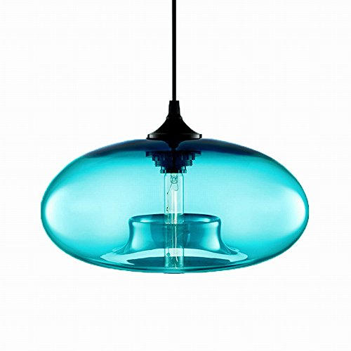 Newrays Modern Single Light Blue Glass Pendant Lighting Ceiling Light for Kitchen Island Lighting Fixtures ()