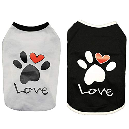 (CheeseandU 2019 New 2Pcs Summer Dog Clothes Pet Vest Puppy Dog Cute Cool Soft Cotton Shirt with Paw Love Printed Sleeveless T-Shirt for Teddy Poodle Small Dogs Cats Clothes Pet Apparel, Black+White)